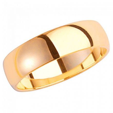 Yellow GOLD WEDDING RING 9K D SHAPE 6 MM, W106H